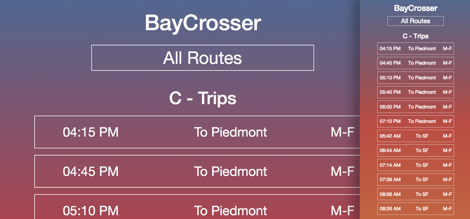 Screenshot of BayCrosser web app.